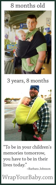 Woven wraps are the best for carrying babies and toddlers. Three years later, this dad is still wrapping his little girl, and you can see in their faces how strong a love they share! Please repin my picture if you like it!