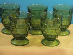 """you will be getting 5 juice glasses.. 4"""" tall footed juice glass all are in great condition. green avocada Be sure to add me to your favorites list! as I am always adding new items. Check out my other"""