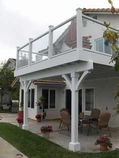 York Design Group: Balconies: a deck upstairs and a covered patio below - Modern Porch And Balcony, Bedroom Balcony, House Balcony Design, Apartment Balconies, Backyard Patio Designs, Back Patio, Architecture, Cottage, Construction