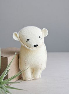 pocket bear / laurence / polar bear. , via Etsy.