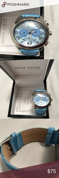 Anne Klein large face light blue watch Anne Klein cool & unique large face light blue watch. Mother of pearl face with day of week/date. Water resistant. Never used. I bought t then my husband surprised me with something different. Plastic still on face. Comes with box and instruction booklet. Not currently sold in stores. It needs a battery but if I can get to the store I'll get one. Anne Klein Accessories Watches