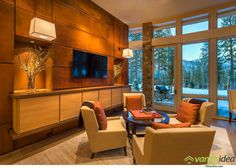 Contemporary mountain retreat offers warm living spaces in Martis Camp House Design, Home Living Room, House, Contemporary House, Camp House, Interior Design, Wall Design, Warm Living, Great Rooms