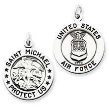 Antiqued Saint Michael Air Force Medal, Charm in Sterling Silver