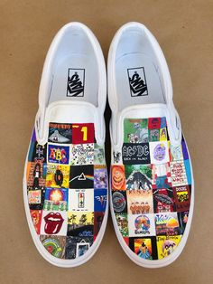 Outfits with vans Hand painted vans with classic rock albums These are hand painted vans that I made! They are covered in classic rock albums! Painted Vans, Custom Painted Shoes, Painted Sneakers, Hand Painted Shoes, Vans Shoes Fashion, Fashion Boots, Neon Shoes, Custom Vans Shoes, Cute Vans