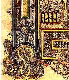 detail--Book of Kells miniature - Ireland's greatest treasure created about 800 CE - calligraphy illumination medieval monks
