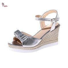 AgooLar Femme Boucle Verni à Talon Haut Ouverture D'Orteil Sandales à Coin, Argent, 34 - Chaussures agoolar (*Partner-Link)