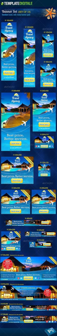 Travel Agency Web Banner Set Template PSD | Buy and Download: http://graphicriver.net/item/travel-agency-banner-set/6966722?WT.ac=category_thumb&WT.z_author=TemplateDigitale&ref=ksioks