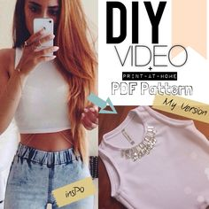 "DIY Basic CROP TOP with sew on beads! ""Get The Look"" + ""Fashion Lust"" = lustinglooks.com ❤ Video tutorials & PDF Sewing patterns to print at home!!"