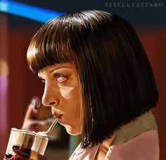 Painting: Mia Wallace by StellaLazzaro on DeviantArt