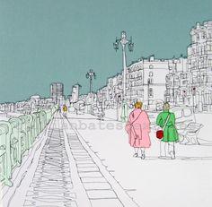 Brighton Promenade. Freehand machine embroidery. ©gillianbates 2014