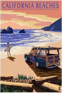 California beaches | Vintage travel poster
