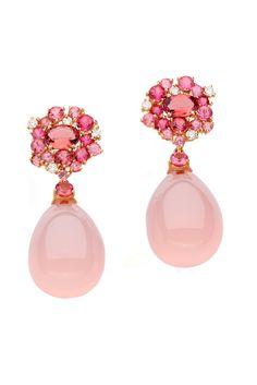 Brumani Rose Gold Rose Quartz, Pink Tourmaline and Diamond Drop Earrings Pink Jewelry, Gemstone Jewelry, Jewelry Accessories, Jewelry Design, Jewelry Trends, Statement Jewelry, Dangle Earrings, Jewellery Earrings, Amethyst