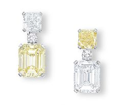 H & D Diamonds  your direct contact to diamond trade suppliers & a Bond Street jeweller.www.handddiamonds...  - CARTIER's Suspending a rectangular-shaped fancy intense yellow diamond weighing 6.57ct, surmounted by a modified square-shaped diamond weighing 1.76ct, juxtaposed with another earring suspending a rectangular-shaped diamond weighing 6.03ct, to the modified square-shaped fancy vivid yellow diamond surmount weighing 1.86ct, mounted in 18k white gold