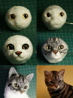 Kitten with head tilt - Needle felted cat showing underlying armature and finished cat. Needle felted cat showing underlying armature and finished cat. Wool Needle Felting, Needle Felting Tutorials, Needle Felted Animals, Wet Felting, Felt Animals, Felt Cat, Cat Crafts, Felt Dolls, Felt Ornaments