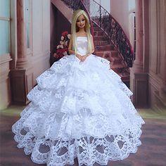 poupée Barbie mariée timide dentelle blanche robe de princesse couches pur de 2015 à €16.16