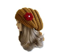 Mustard Womens Beret Hat tricot and crochet by likeknitting