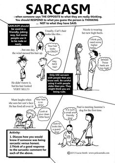 Sarcasm... a big thing in social language (pragmatics) Repinned by SOS Inc. Resources http://pinterest.com/sostherapy.