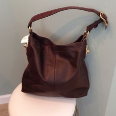 CHOCOLATE BRIOWN  LEATHER COACH HOBO BAG Beautiful leather Coach bag!  Never used! Gorgeous gold embellishments  strap is snake skin like. Coach Bags Shoulder Bags