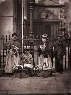 1877: Victorian flower women selling bouquets at Covent Garden market. Original Publication: From 'Street Life In London' by John Thomson and Adolphe Smith - pub. 1877 (Photo by John Thomson/Hulton Archive/Getty Images)