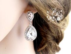 Wedding Earrings Platinum plated Rhinestone by PureRainDesigns