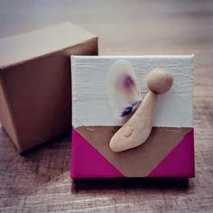 Geschenk Box mit Engel mit Körper aus Stein, Flügel aus Muschel und Kopf aus Holzkugel Ring Verlobung, Measuring Spoons, Godchild, Shell, Natural Materials, Stone, Stocking Stuffers, Gift Cards, Valentines Day