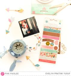 Pretty Embellishments from New Cedar Lane Collection @pinkpaislee @geekgalz cedarlane diy washitape layout