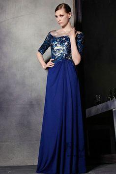 Blue Beaded Half Sleeve Pleated A Line Prom Dress 81895