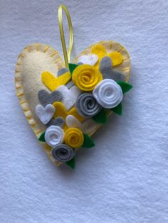 Excited to share this item from my shop: Heart felt ornament Valentines Day READY TO SHIP mantle decor home decor Yellow and gray perfect Wedding or Mom gift Diy Gifts For Mom, Diy Mothers Day Gifts, Christmas Gifts For Her, Felt Hearts, Felt Ornaments, Felt Flowers, Crafts For Kids, Valentines, Perfect Wedding