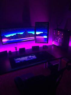 RGBd to death.... Best Gaming Setup, Computer Desk Setup, Gamer Setup, Gaming Room Setup, Gaming Rooms, Pc Setup, Gaming Computer, Deco Gamer, Neon Led