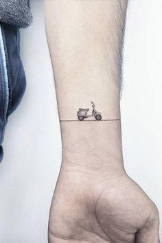 25 Adorable Minimalist Tattoo Designs By Former Cartoonist, Ahmet Cambaz Small Tattoos With Meaning, Cute Small Tattoos, Little Tattoos, Small Tats, Tattoos For Women Small, Car Tattoos, Body Art Tattoos, Biker Tattoos, Sexy Tattoos