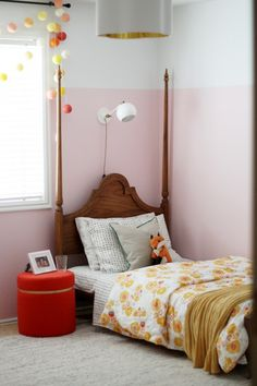 Polka dot sheets and Duvet, white and gold reading sconce-from Schoolhouse Electric   Chris Loves Julia
