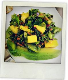 Goop: Pineapple Avocado Salad with Kale and Red Onion ingredients  makes 4    2 bunches leafy kale, roughly chopped 1 fresh pineapple, cubed 1 small red onion, thinly sliced 2 avocados, cubed 2 pinches dried oregano juice of 1 lemon drizzle of extra virgin olive oil drizzle of red wine vinegar salt & pepper to taste