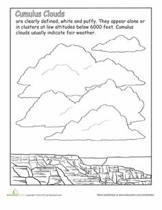 Second Grade Earth Space Science Nature Worksheets: Cumulus Clouds Science Biology, Science Lessons, Teaching Science, Science Activities, Kindergarten Science, Science Fun, Science Ideas, Teaching Ideas, Weather Lesson Plans