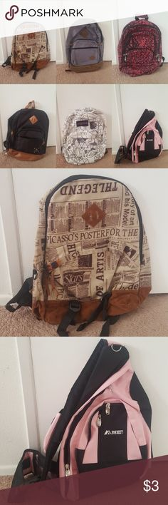 school backpack (Buy 1: $25)(Buy 2: $30) (Buy 3: $35)                       Please leave a comment below if you are interested or have any questions. Some of these items  have tiny holes or stains so if u want close up pictures comment please below. Jansport Bags Backpacks