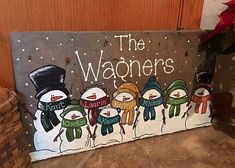 Personalized Snowman Family Slate Welcome by LainyMichelleDesigns