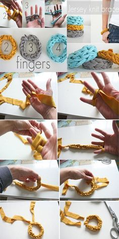 Finger knitting bracelets, great way to reuse old t-shirts. 2, 3 and 4 finger knitting.