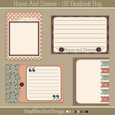 Free Hopes and Dreams Journal Cards from Dandelion Dust Designs {GIngerScraps Birthday Facebook Hop}