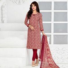 Cream - Red Printed Salwar Suit