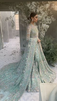 Asian Bridal Dresses, Indian Bridal Outfits, Pakistani Bridal Dresses, Pakistani Wedding Dresses, Blue Wedding Dresses, Pakistani Dress Design, Pakistani Outfits, Asian Bridal Wear, Pakistani Clothing