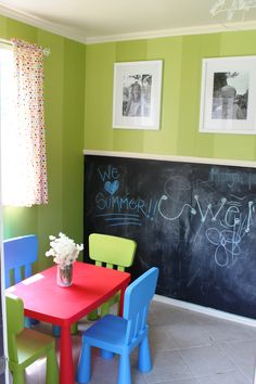 playhouse with chalkboard wall.