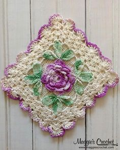 Flower Embellished Vintage Crochet Potholders--inspiration for color combinations