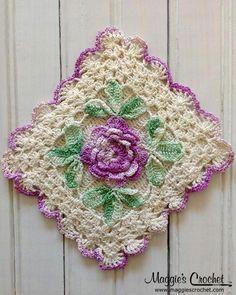 Flower Embellished Vintage Crochet Potholders--inspiration for color combinations