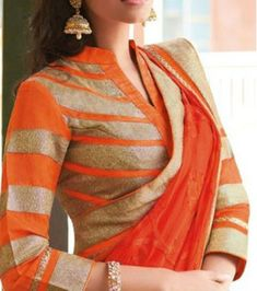 Gold n orange collar neck blouse with full sleeves Full Sleeves Blouse Designs, Saree Jacket Designs, Best Blouse Designs, Saree Blouse Neck Designs, Salwar Designs, Dress Designs, Feeding Dresses, Stylish Blouse Design, Collor