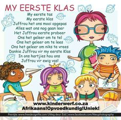 Graad 1 Afrikaans Language, Poems About School, Kids Poems, 1st Grade Worksheets, Classroom Activities, Classroom Ideas, Kids Education, Pre School, Phonics