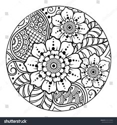Outline round floral pattern for coloring book page. Antistress for adults and children. Doodle ornament in black and white. Stencil Templates, Art Template, Sgraffito, Mandela Art, Black And White Doodle, Butterfly Coloring Page, Pyrography Patterns, Outline, Folk Embroidery