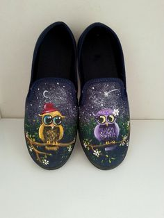 Owl shoes hand painted shoes owl painting shoes design by AxiKedi
