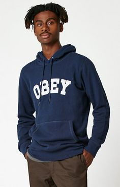 Online Only! Get your chill on with help from the OBEY Watson Pullover Hoodie. This comfy-meets-stylish hoodie has a kangaroo pocket, a soft fleece lining, an adjustable drawstring hood, and a bold OBEY graphic across the chest.   	Solid pullover hoodie 	OBEY logo on chest 	Drawstring hood 	Kangaroo pocket 	Long sleeves 	Ribbed cuffs and hem 	Fleece lining