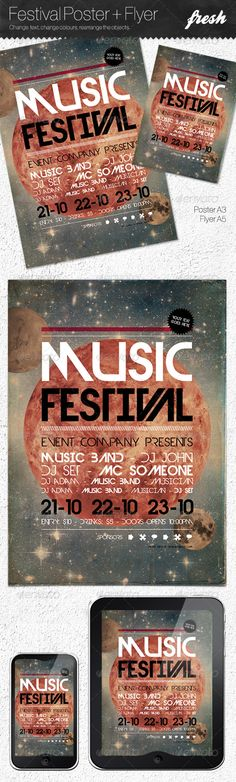 Buy Music Festival Poster + Flyer by sos_age on GraphicRiver. An amazing poster and flyer set, useful for music festivals, parties or events. Music Painting, Art Music, Music Lyric Tattoos, Flyer Size, Poster Fonts, Event Posters, Music Drawings, Flyer Layout, Festival Posters