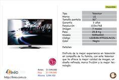 """Televisor LG 50""""  Color Negro.  PRECIO   Antes: $1.599.000 Hoy: $1.199.900 --> Ahorra: $399.100  Disponible en.  http://www.linio.com.co/Televisor-Plasma-de-50""""-HD-50PA4500-29502.html#"""