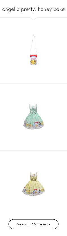 """""""angelic pretty: honey cake"""" by scoutvenus ❤ liked on Polyvore featuring bags, lolita bag, dresses, lolita, jsk, angelic pretty, skirts, honey cake, green skirt and pink skirt"""